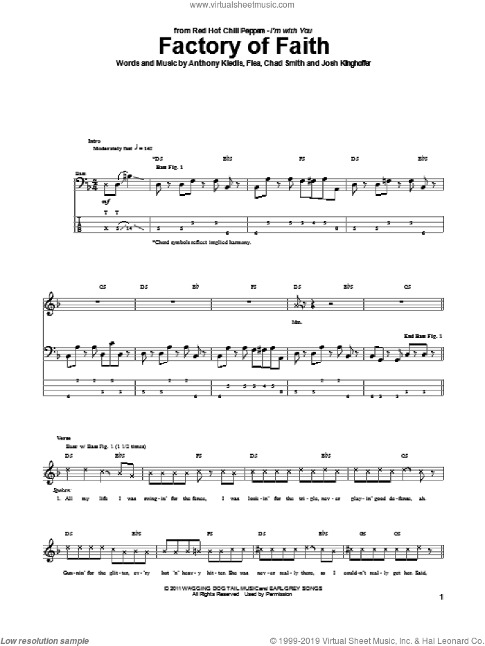 Factory Of Faith sheet music for bass (tablature) (bass guitar) by Josh Klinghoffer, Red Hot Chili Peppers and Flea. Score Image Preview.