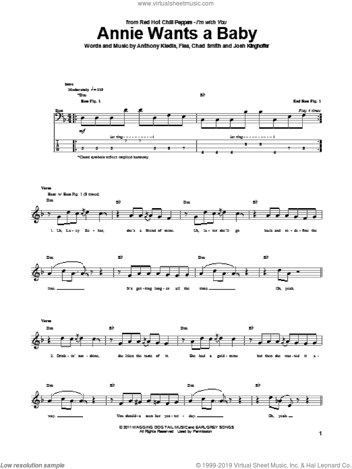 Annie Wants A Baby sheet music for bass (tablature) (bass guitar) by Red Hot Chili Peppers, intermediate. Score Image Preview.