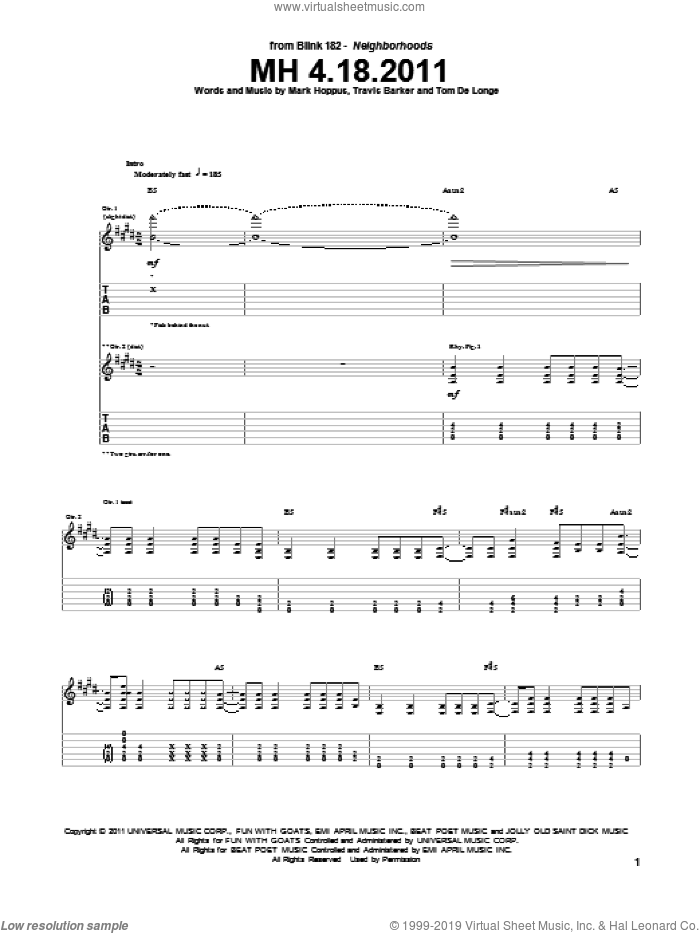 MH 4.18.2011 sheet music for guitar (tablature) by Travis Barker, Blink-182, Mark Hoppus and Tom DeLonge. Score Image Preview.