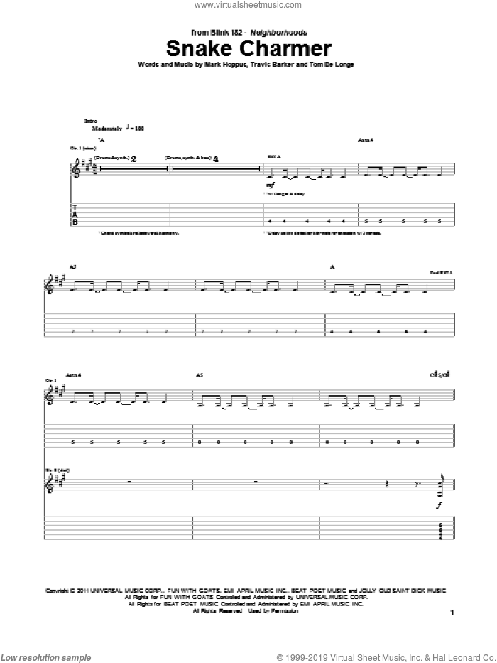 Snake Charmer sheet music for guitar (tablature) by Travis Barker, Blink-182, Mark Hoppus and Tom DeLonge. Score Image Preview.