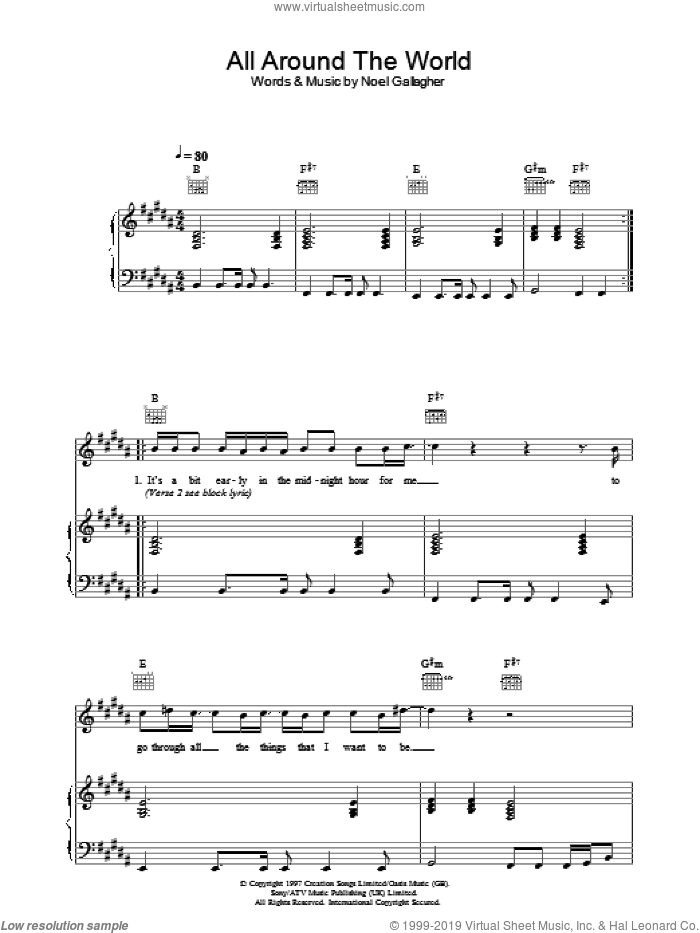 All Around The World (Reprise) sheet music for voice, piano or guitar by Noel Gallagher and Oasis. Score Image Preview.