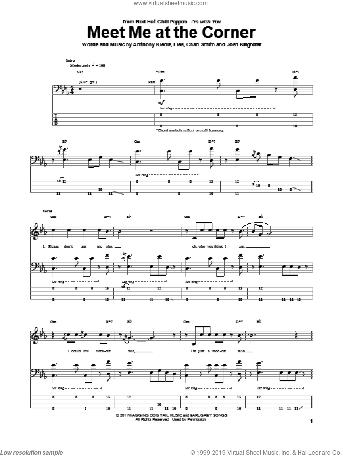 Meet Me At The Corner sheet music for bass (tablature) (bass guitar) by Josh Klinghoffer