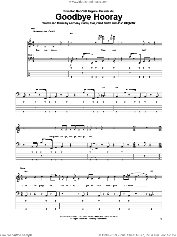 Goodbye Hooray sheet music for bass (tablature) (bass guitar) by Josh Klinghoffer, Red Hot Chili Peppers and Flea. Score Image Preview.