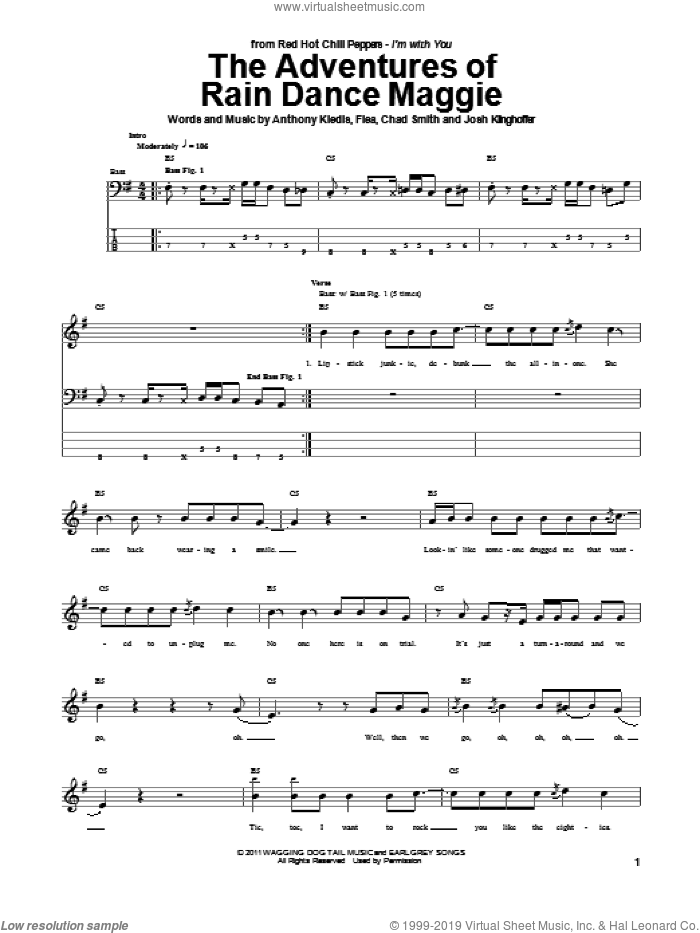 The Adventures Of Rain Dance Maggie sheet music for bass (tablature) (bass guitar) by Josh Klinghoffer, Red Hot Chili Peppers and Flea. Score Image Preview.