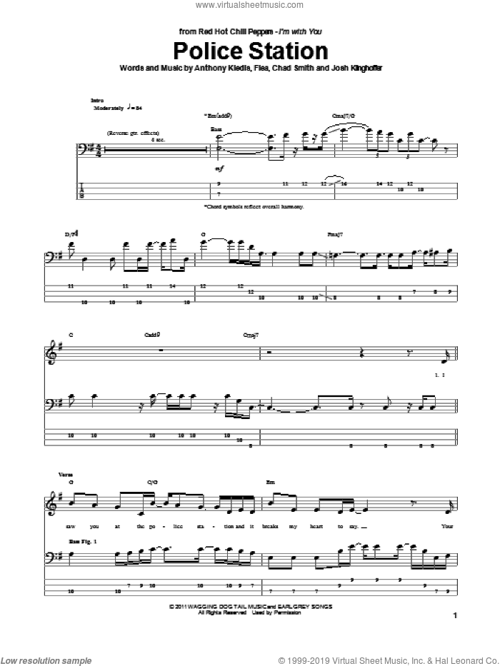 Police Station sheet music for bass (tablature) (bass guitar) by Red Hot Chili Peppers, Anthony Kiedis, Chad Smith, Flea and Josh Klinghoffer, intermediate skill level