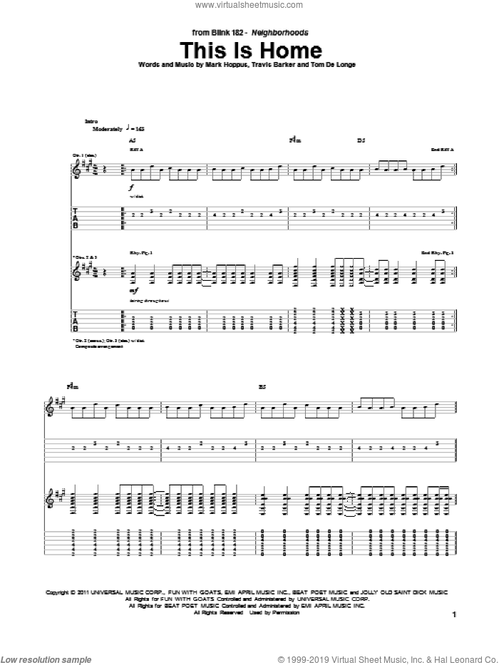 This Is Home sheet music for guitar (tablature) by Blink-182, intermediate. Score Image Preview.