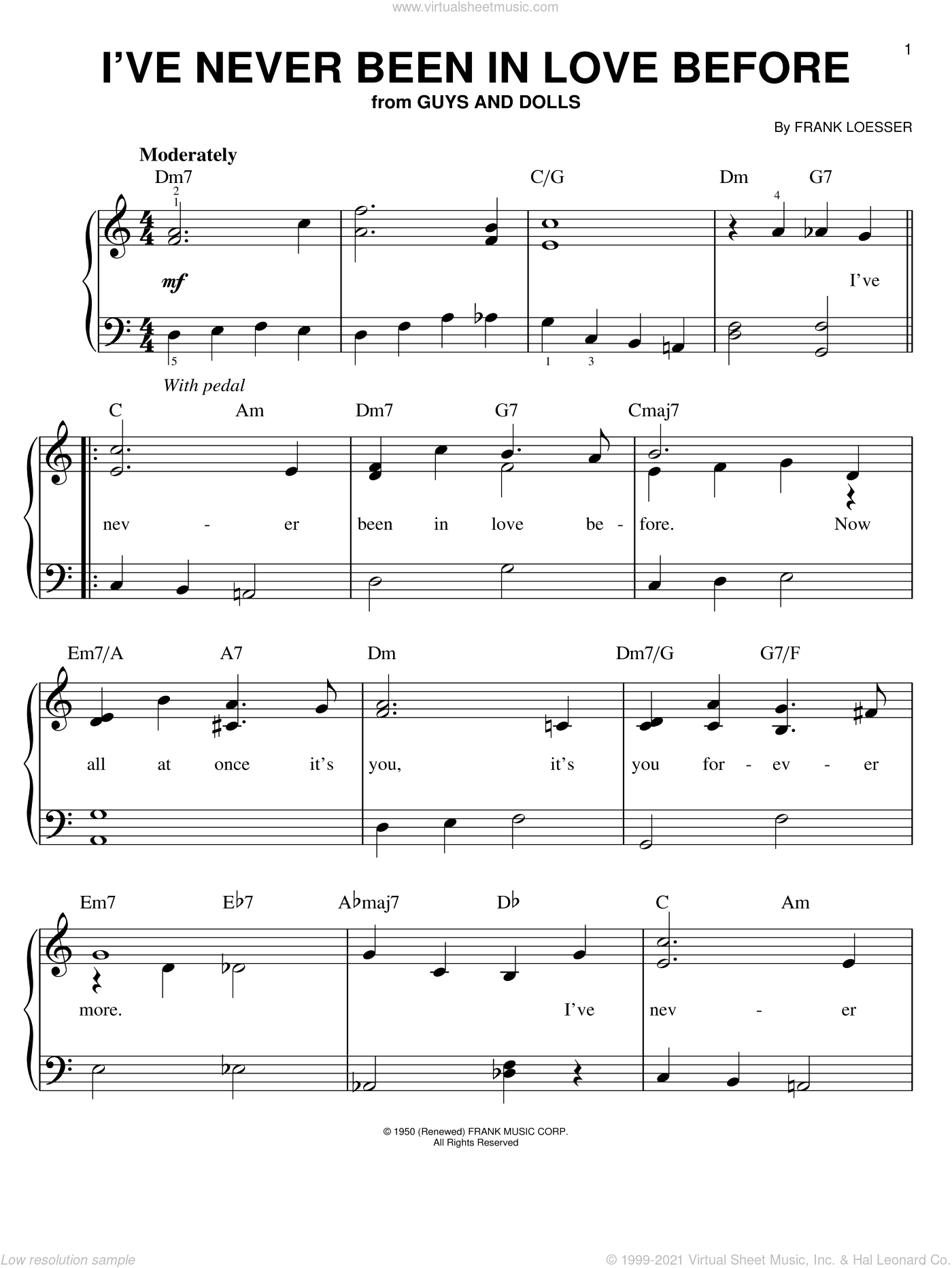I've Never Been In Love Before sheet music for piano solo by Frank Loesser and Guys And Dolls (Musical), easy skill level