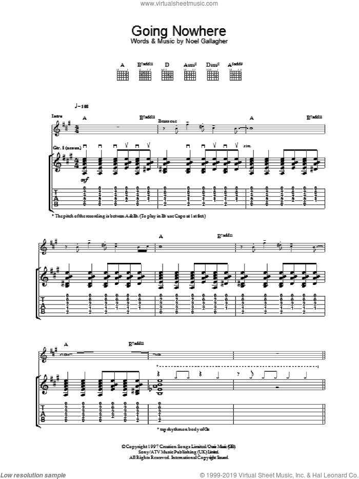 Going Nowhere sheet music for guitar (tablature) by Oasis and Noel Gallagher. Score Image Preview.