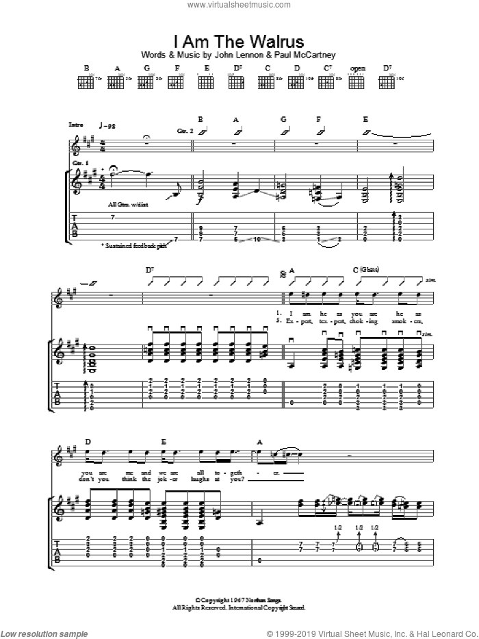 I Am The Walrus sheet music for guitar (tablature) by Paul McCartney, Oasis and John Lennon. Score Image Preview.