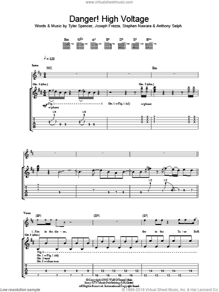 Danger! High Voltage sheet music for guitar (tablature) by Electric Six, intermediate. Score Image Preview.