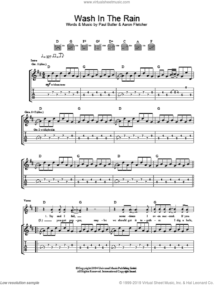 Wash In The Rain sheet music for guitar (tablature) by Paul Butler and Aaron Fletcher
