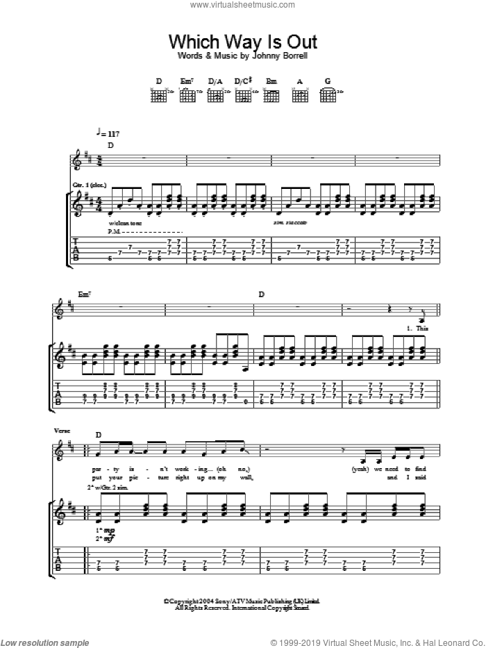 Which Way Is Out sheet music for guitar (tablature) by Johnny Borrell. Score Image Preview.