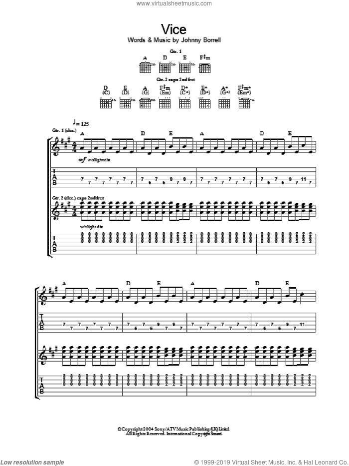 Vice sheet music for guitar (tablature) by Razorlight and Johnny Borrell, intermediate