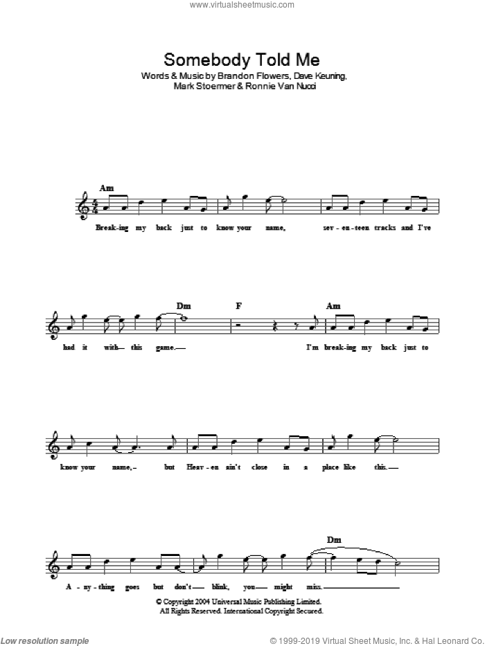 Somebody Told Me sheet music for voice and other instruments (fake book) by Ronnie Vannucci