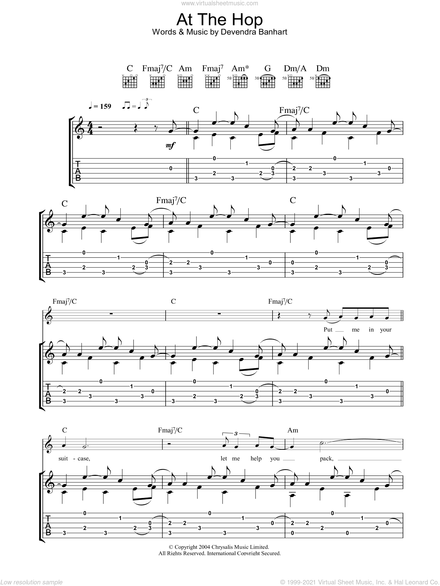 At The Hop sheet music for guitar (tablature) by Devendra Banhart. Score Image Preview.