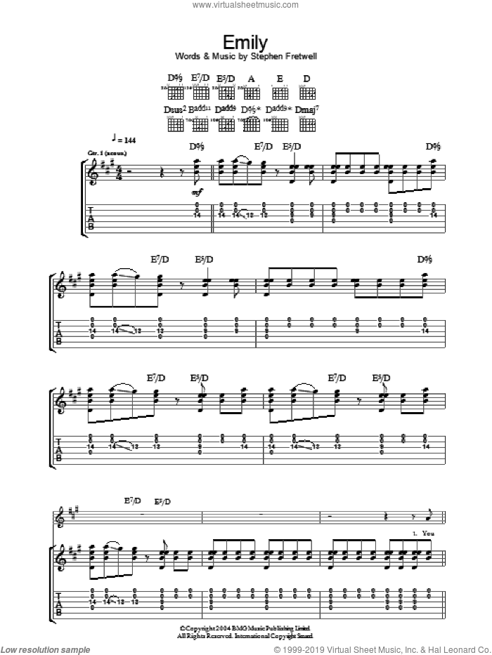 Emily sheet music for guitar (tablature) by Stephen Fretwell, intermediate. Score Image Preview.