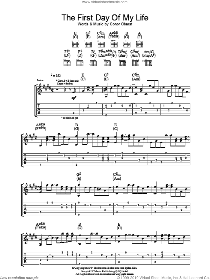 First Day Of My Life sheet music for guitar (tablature) by Conor Oberst