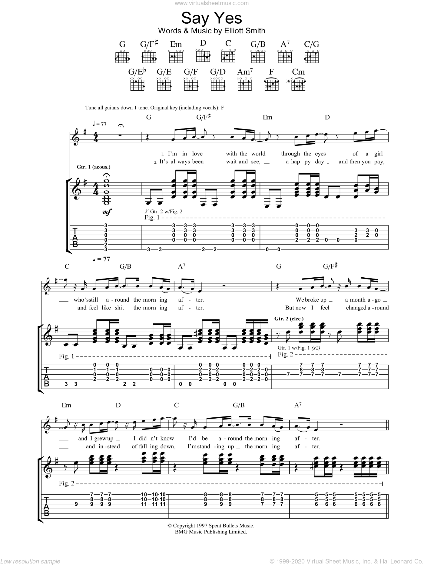 Say Yes sheet music for guitar (tablature) by Elliott Smith, intermediate skill level