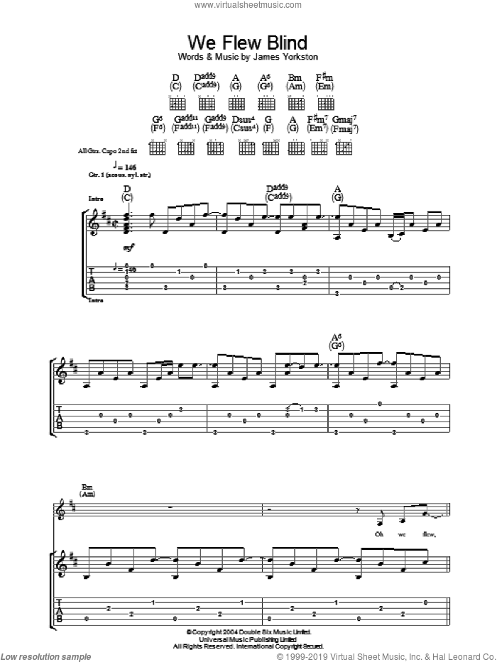 We Flew Blind sheet music for guitar (tablature) by James Yorkston & The Athletes and James Yorkston, intermediate skill level