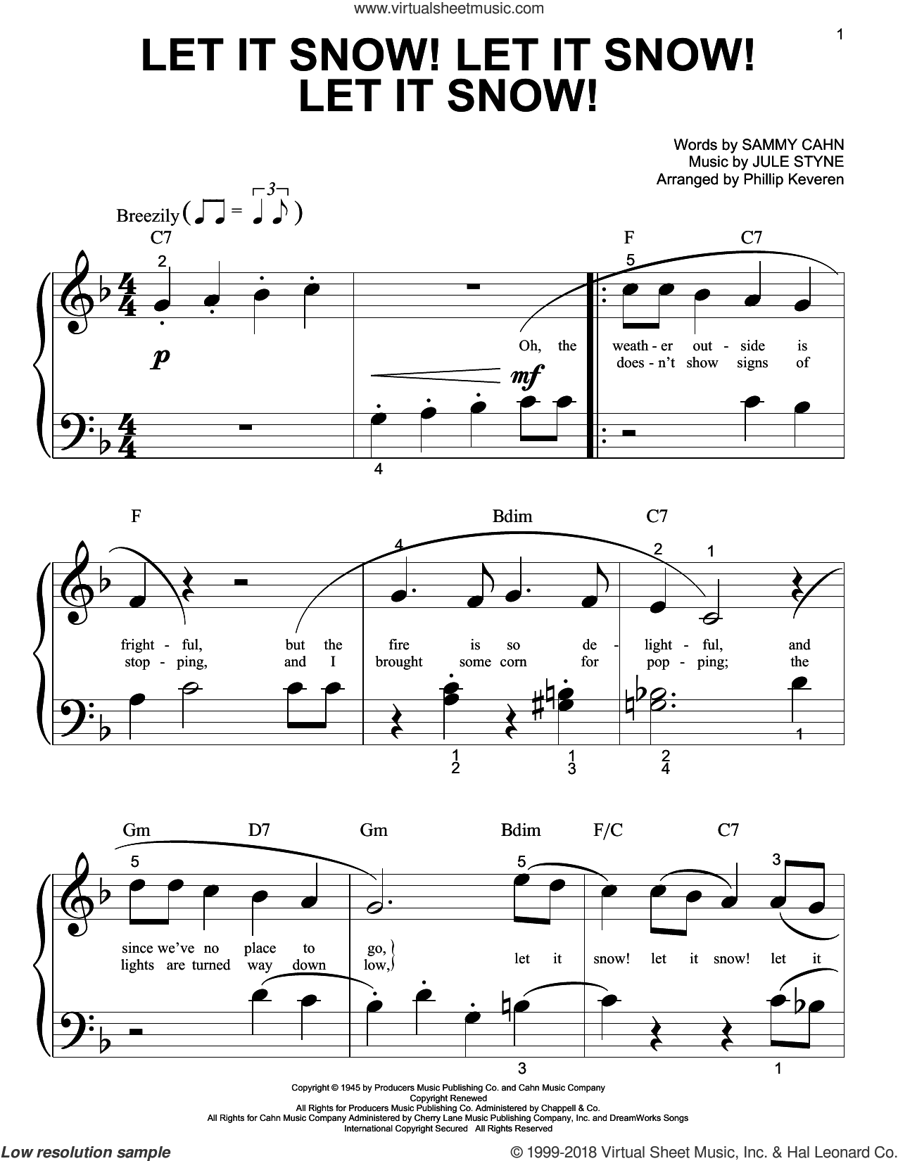 Let It Snow! Let It Snow! Let It Snow! sheet music for piano solo (big note book) by Jule Styne, Phillip Keveren and Sammy Cahn. Score Image Preview.