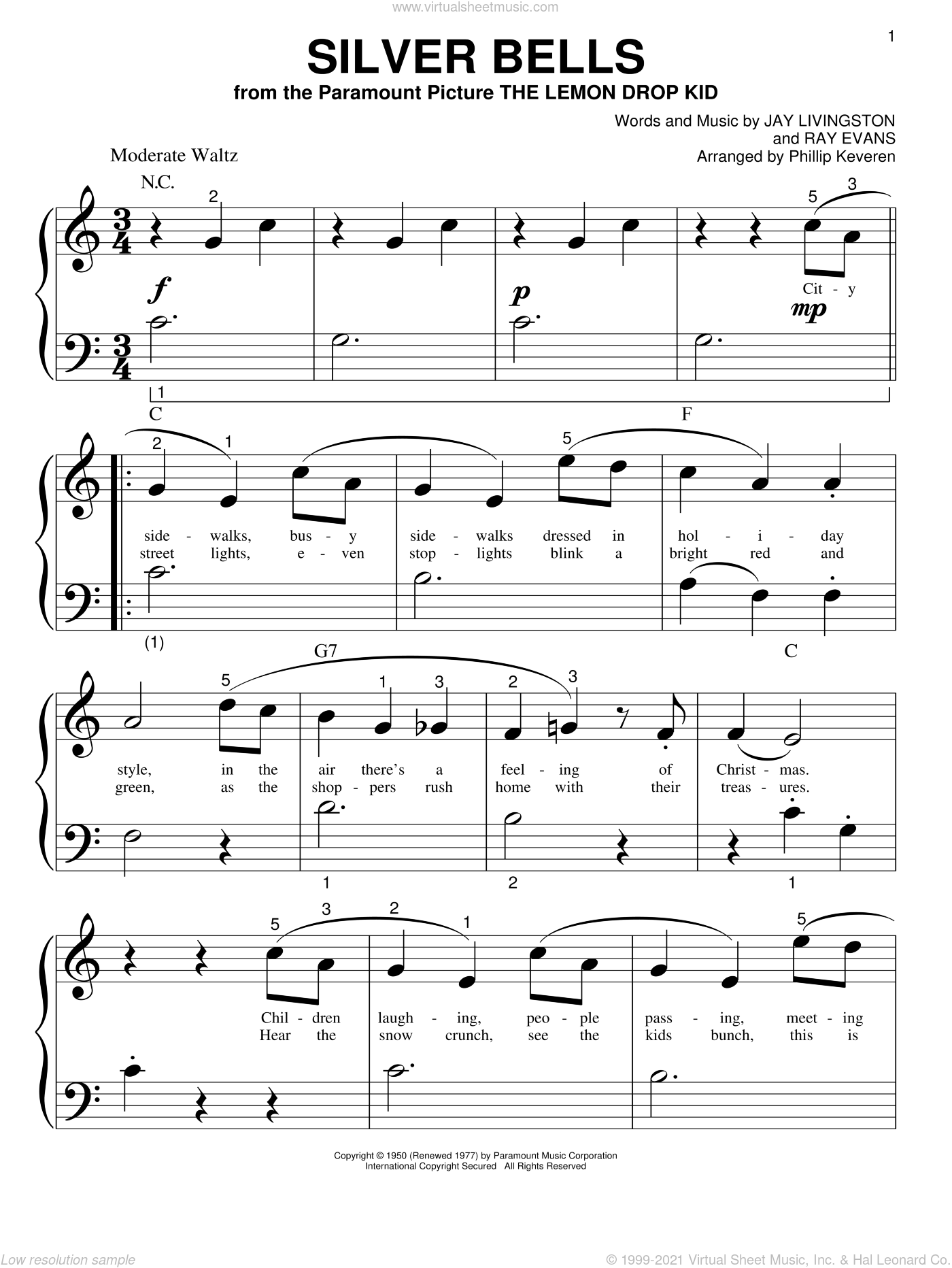 Silver Bells sheet music for piano solo (big note book) by Jay Livingston, Phillip Keveren and Ray Evans, easy piano (big note book)