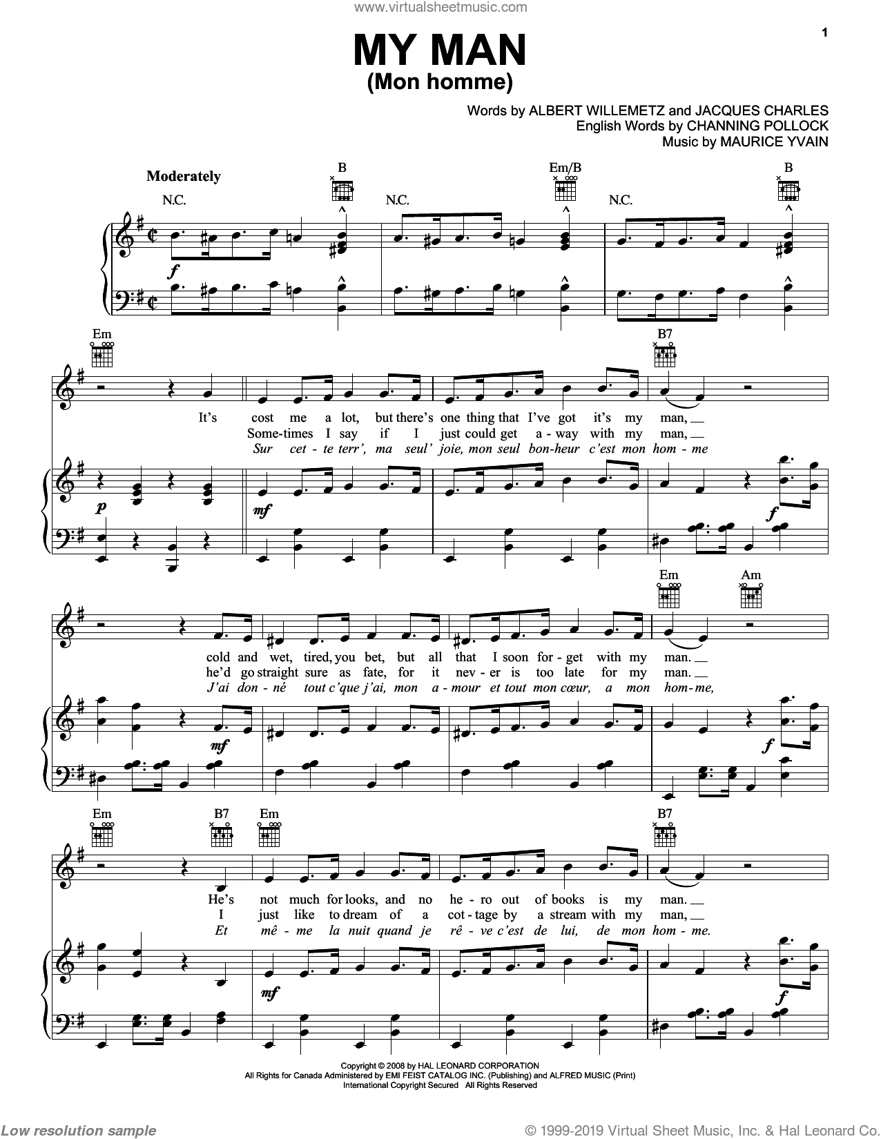 My Man (Mon Homme) sheet music for voice, piano or guitar by Jacques Charles, Albert Willemetz and Channing Pollock. Score Image Preview.
