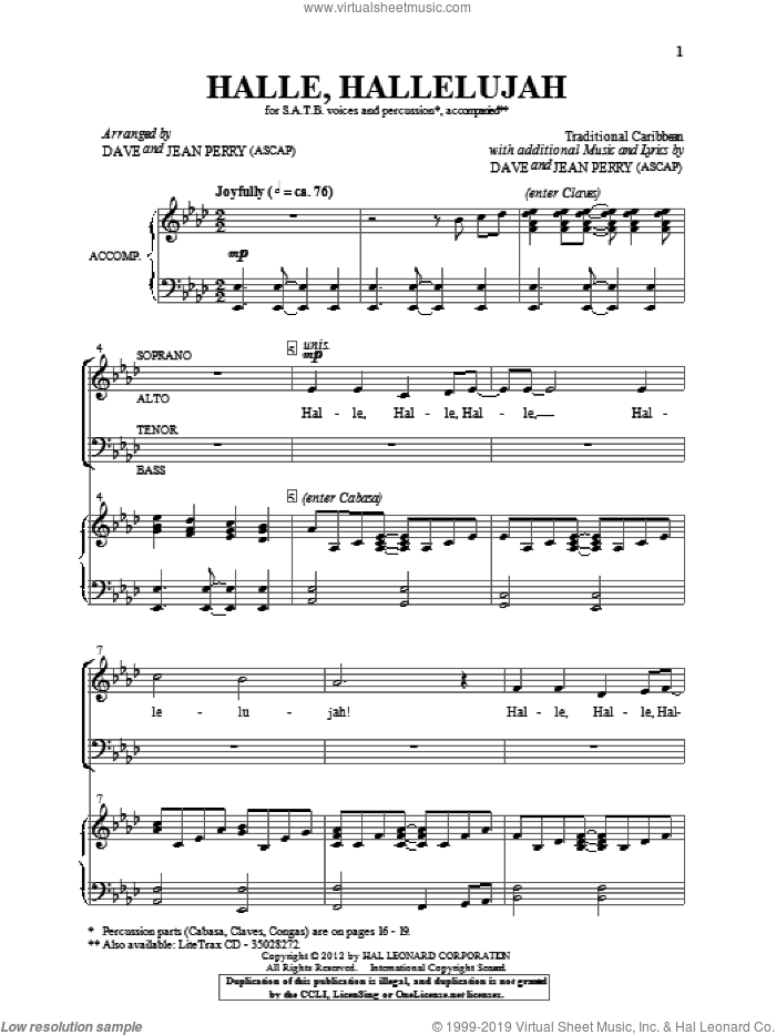 Hallelu, Hallelujah! sheet music for choir (SATB: soprano, alto, tenor, bass) by Dave and Jean Perry, intermediate