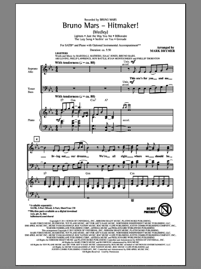 Bruno Mars: Hitmaker! (Medley) sheet music for choir and piano (SATB) by Mark Brymer and Bruno Mars. Score Image Preview.