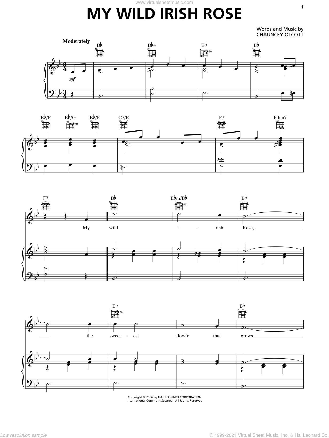 My Wild Irish Rose sheet music for voice, piano or guitar by Chauncey Olcott, intermediate skill level