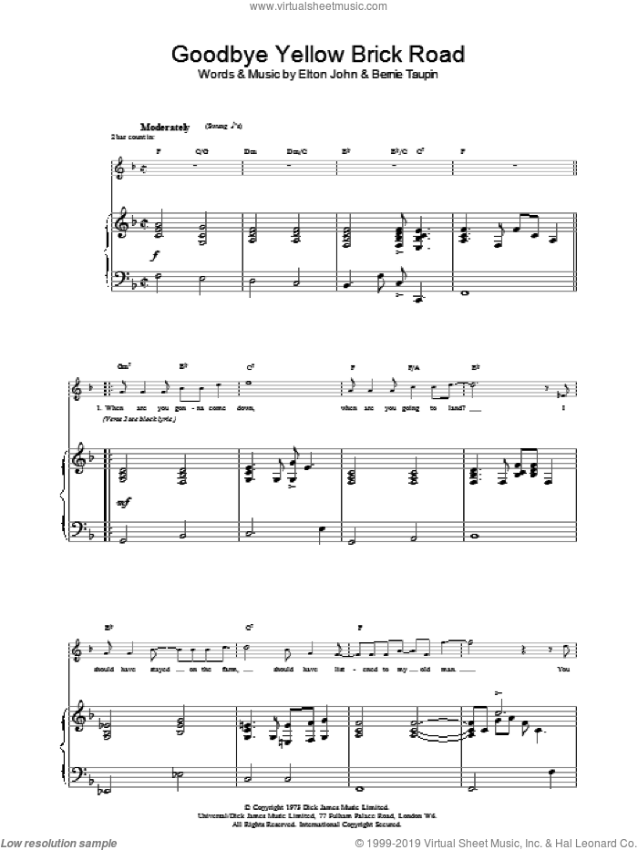 Goodbye Yellow Brick Road sheet music for voice, piano or guitar by Elton John and Bernie Taupin, intermediate. Score Image Preview.