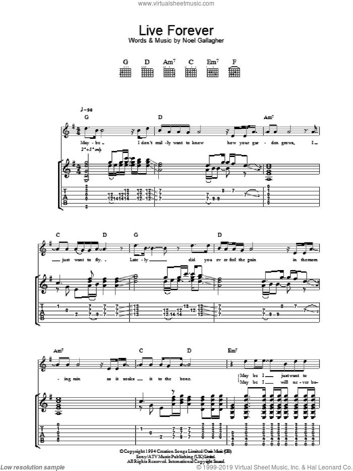 Live Forever sheet music for guitar (tablature) by Noel Gallagher