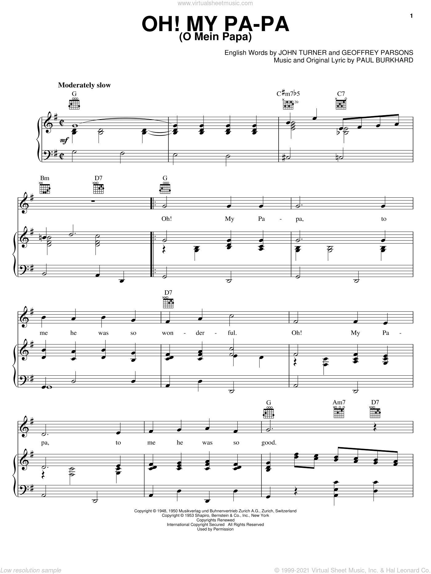 Oh! My Pa-Pa (O Mein Papa) sheet music for voice, piano or guitar by Geoffrey Parsons and John Turner, intermediate voice, piano or guitar. Score Image Preview.