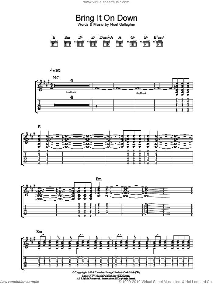 Bring It On Down sheet music for guitar (tablature) by Noel Gallagher