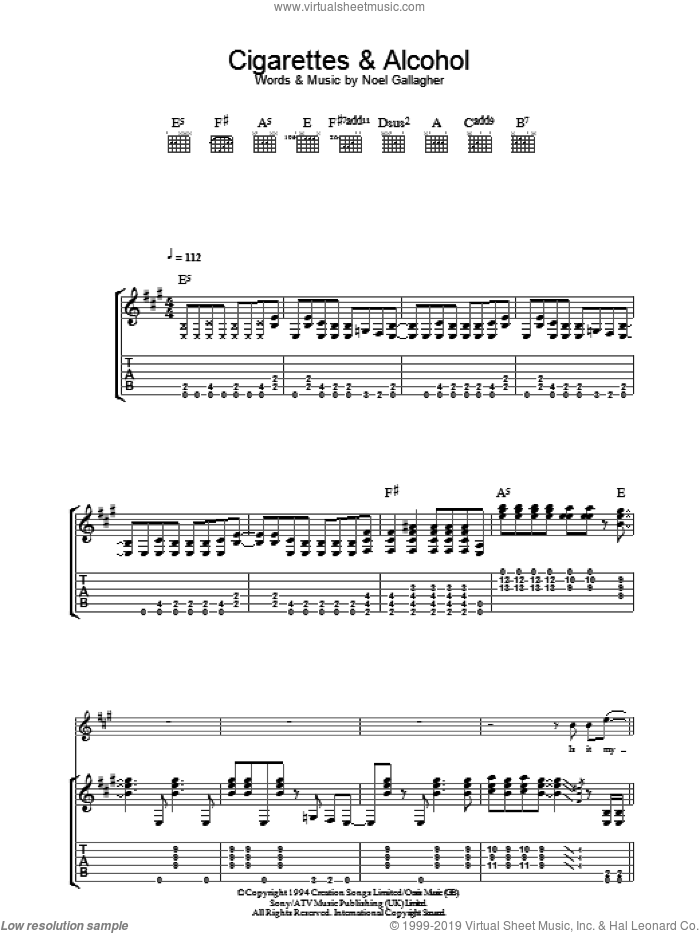 Cigarettes and Alcohol sheet music for guitar (tablature) by Noel Gallagher and Oasis. Score Image Preview.