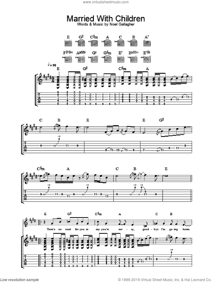 Married With Children sheet music for guitar (tablature) by Noel Gallagher and Oasis. Score Image Preview.