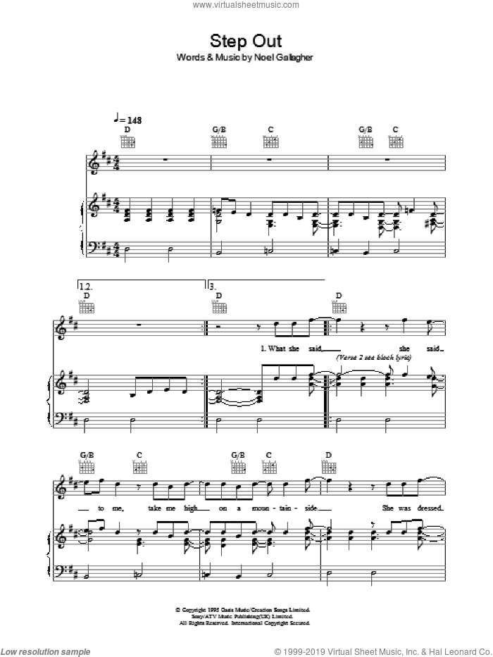 Step Out sheet music for voice, piano or guitar by Noel Gallagher and Oasis. Score Image Preview.