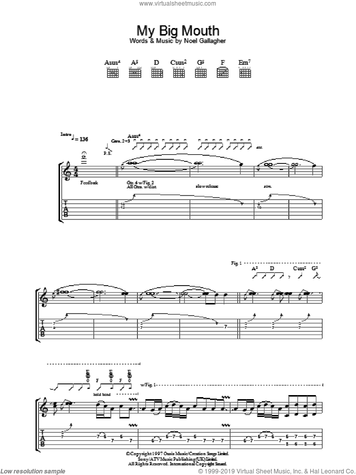 My Big Mouth sheet music for guitar (tablature) by Noel Gallagher