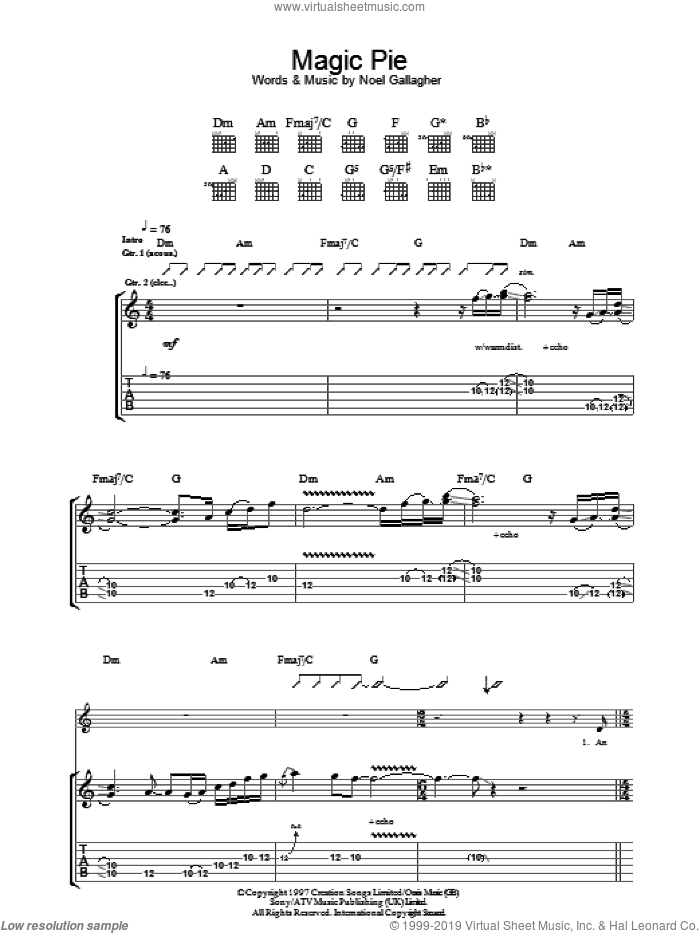 Magic Pie sheet music for guitar (tablature) by Noel Gallagher and Oasis. Score Image Preview.