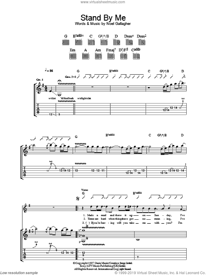 Stand By Me sheet music for guitar (tablature) by Oasis and Noel Gallagher, intermediate guitar (tablature). Score Image Preview.