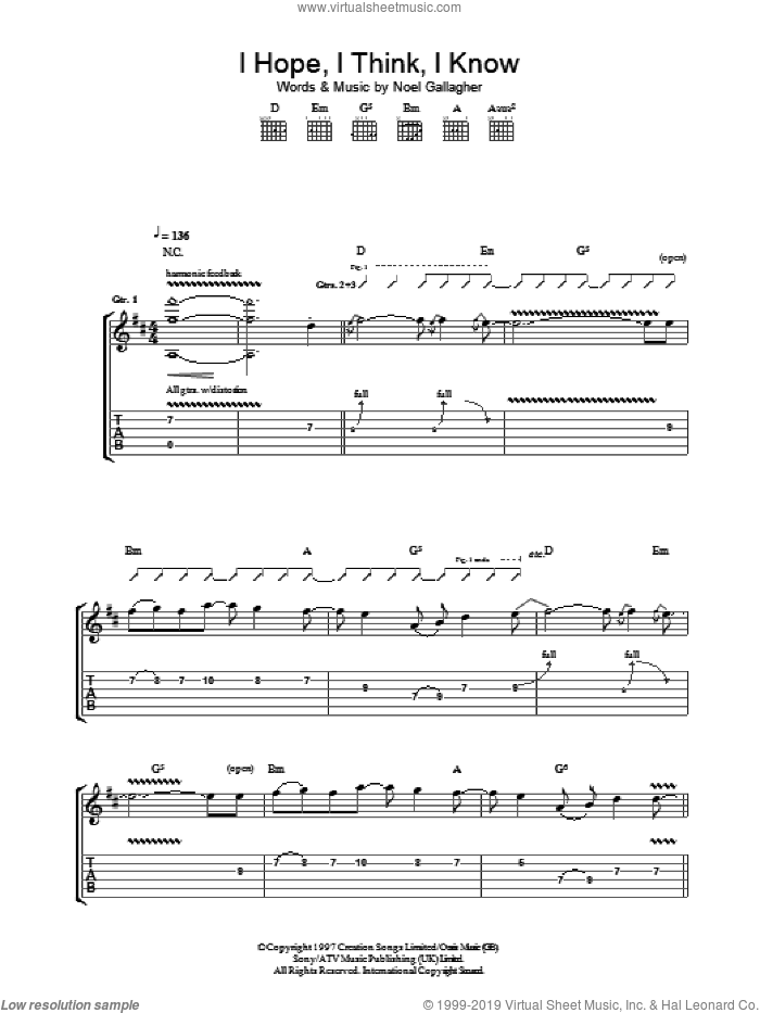 I Hope, I Think, I Know sheet music for guitar (tablature) by Oasis and Noel Gallagher, intermediate guitar (tablature). Score Image Preview.
