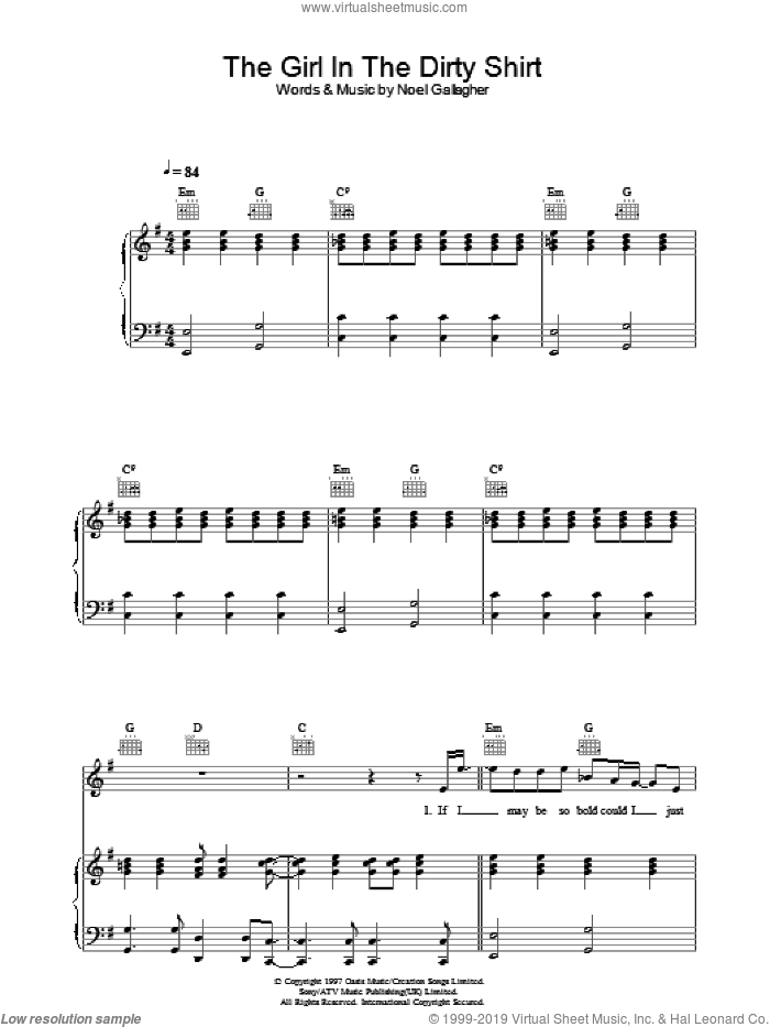 The Girl In The Dirty Shirt sheet music for voice, piano or guitar by Oasis and Noel Gallagher, intermediate skill level