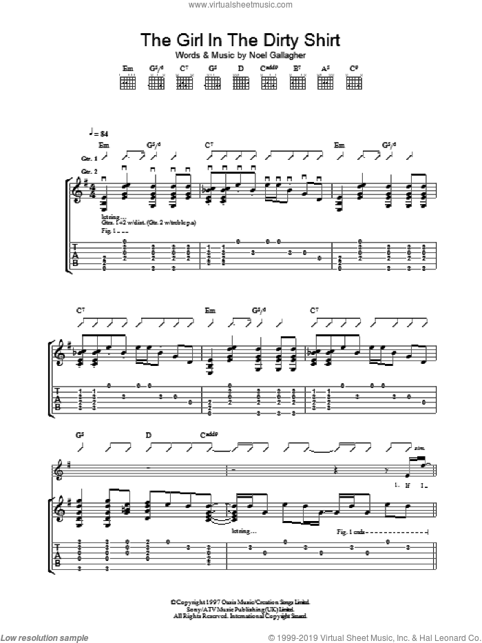 The Girl In The Dirty Shirt sheet music for guitar (tablature) by Oasis and Noel Gallagher. Score Image Preview.
