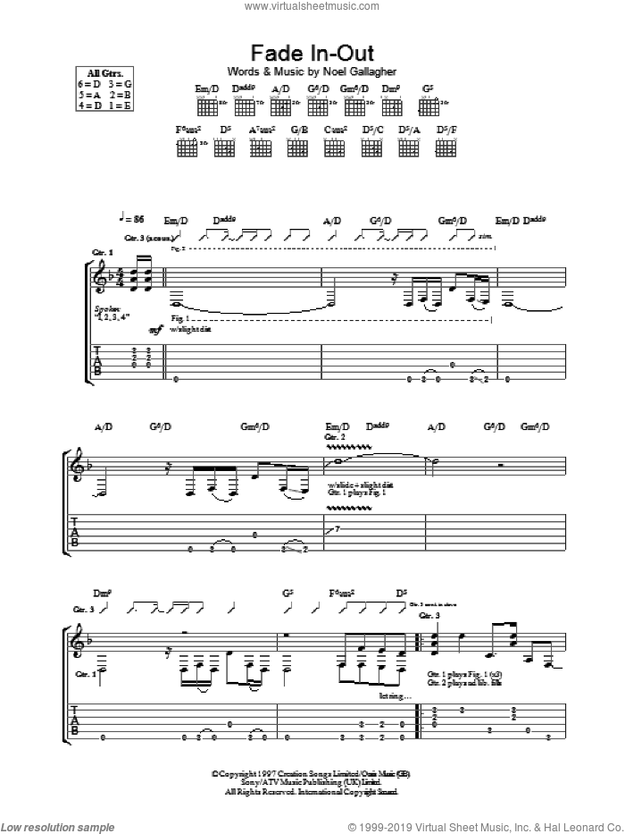 Fade In-Out sheet music for guitar (tablature) by Noel Gallagher and Oasis. Score Image Preview.