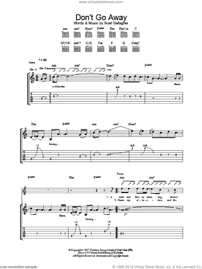Don't Go Away sheet music for guitar (tablature) by Noel Gallagher and Oasis