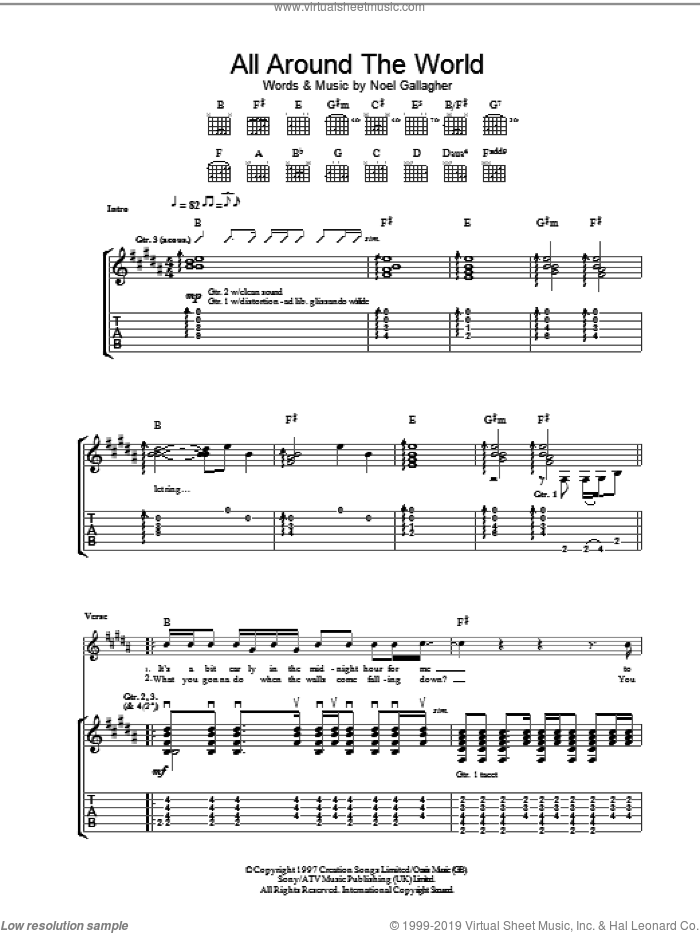 All Around The World sheet music for guitar (tablature) by Noel Gallagher and Oasis