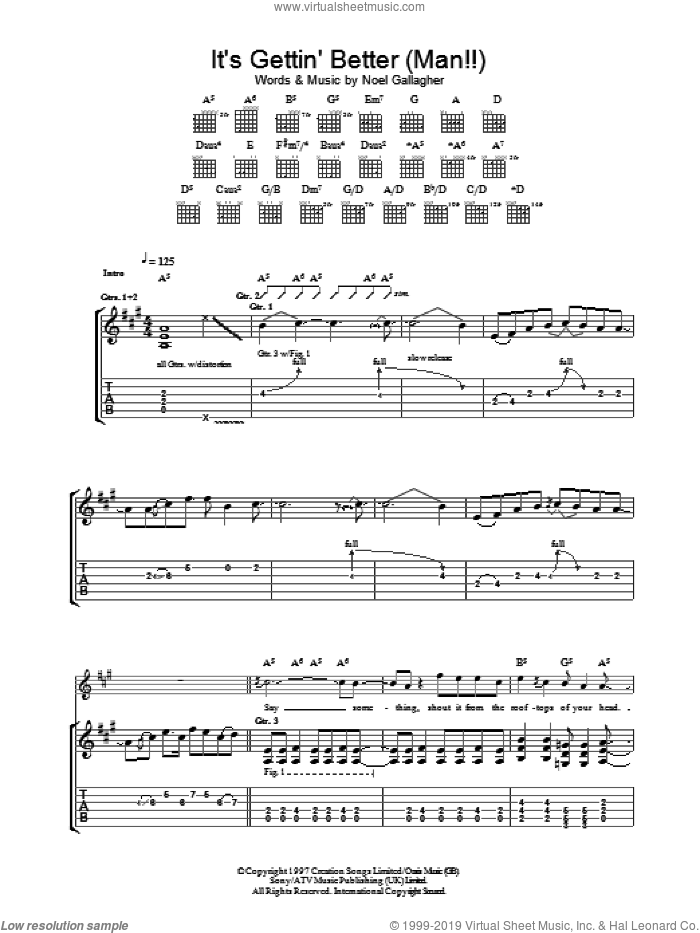 It's Gettin' Better (Man!!) sheet music for guitar (tablature) by Oasis and Noel Gallagher, intermediate