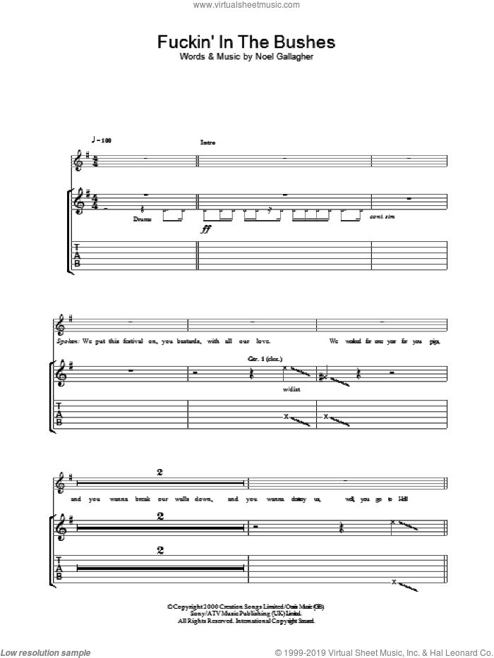 F***in' In The Bushes sheet music for guitar (tablature) by Oasis and Noel Gallagher, intermediate