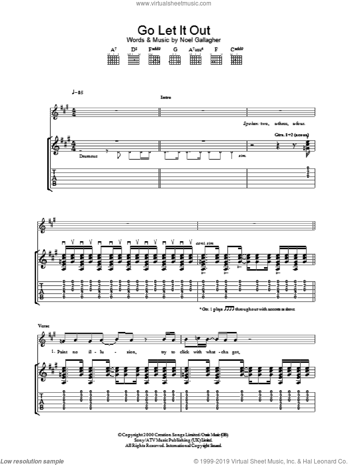 Go Let It Out sheet music for guitar (tablature) by Oasis and Noel Gallagher. Score Image Preview.