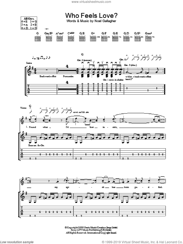 Who Feels Love? sheet music for guitar (tablature) by Oasis and Noel Gallagher, intermediate guitar (tablature). Score Image Preview.