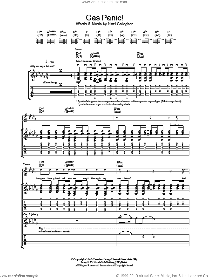 Gas Panic! sheet music for guitar (tablature) by Noel Gallagher